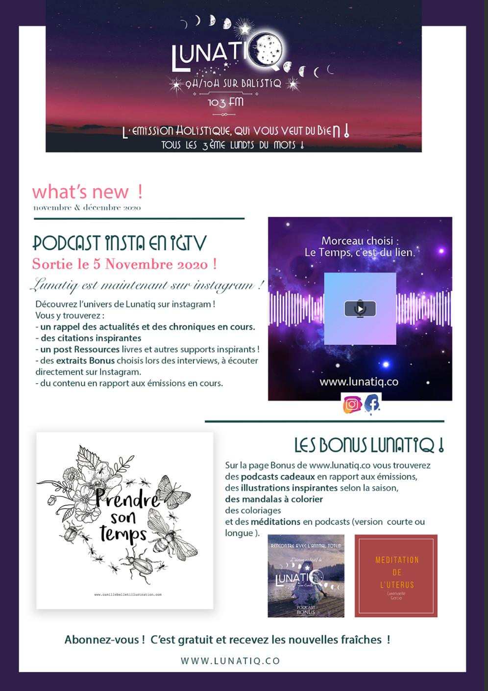 Newsletter du 10/11/2020 Lunatiq