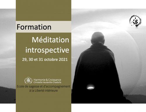 Formation Méditation introspective, 29, 30, 31 octobre 2021
